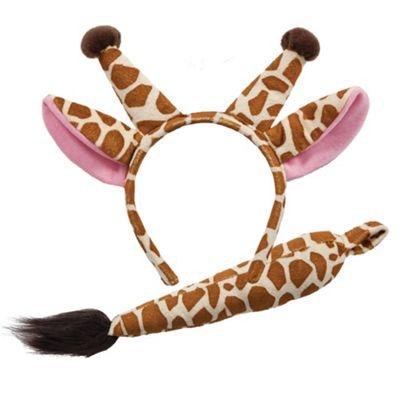Giraffe Ears Headband Tail Safari Animal Ears Fancy Dress Costume Accessory Set