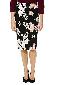 F&F Floral Print Pencil Skirt - Black & Pink