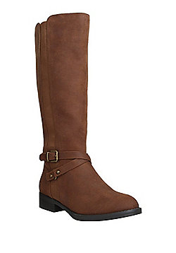 F&F Elasticated Knee High Riding Boots - Brown
