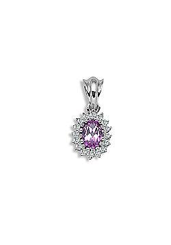 Jewelco London 9 Carat White Gold 12pts Diamond & Amethyst Pendant