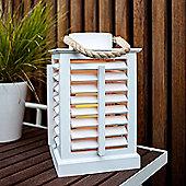 White Wooden Battery LED Candle Lantern