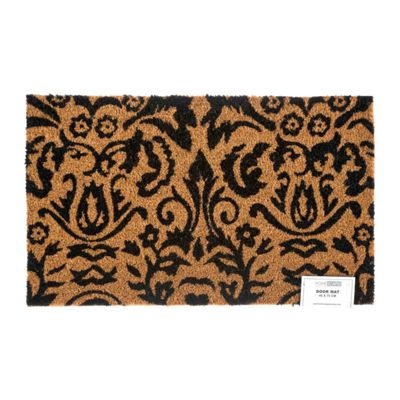 Homescapes Black Scroll Baroque Coir Doormat
