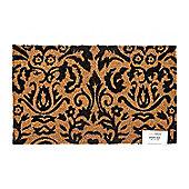 Homescapes Black Scroll Baroque Coir Doormat