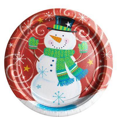 Snowman Swirl Paper Plates - 23cm - 8 Pack