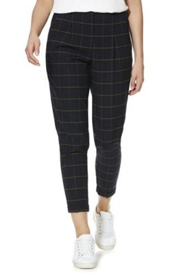 F&F Windowpane Check Tapered Trousers Navy 16