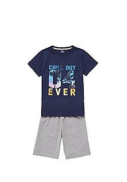 F&F Chill Out Slogan Pyjamas - Blue & Grey