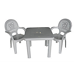 Resol Childrens Garden Plastic Chairs & Table Set - (Pack of 2 Chairs & 1 Table)