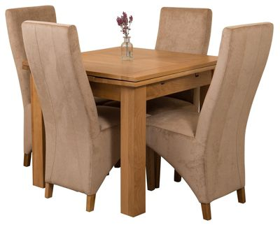 Richmond Small Extending Solid Oak Dining Set Table and 4 Beige Fabric Chairs