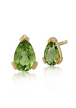 Gemondo 9ct Yellow Gold 0.72ct Pear Cut Peridot Single Stone Stud Earrings