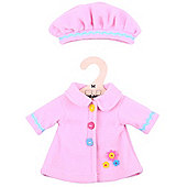 Bigjigs Toys Cute Pink Rag Doll Coat and Hat for 34cm Soft Doll - Suitable for 2+ Years