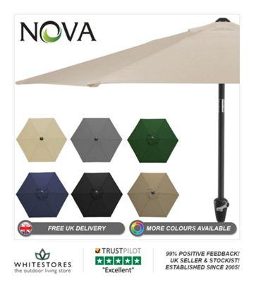 Nova 2.4m Round Beige Aluminium Garden Parasol