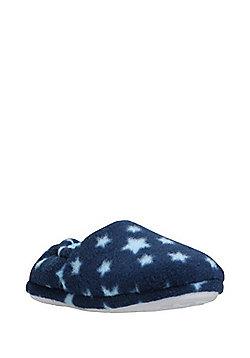 F&F Star Print Fleece Slippers - Navy
