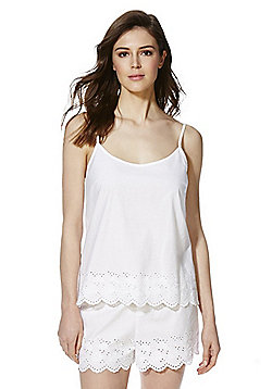 F&F Broderie Anglaise Trim Camisole and Shorts Lounge Set - White