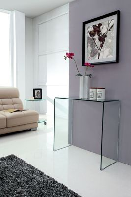Crystal Small Bent Glass Console Table