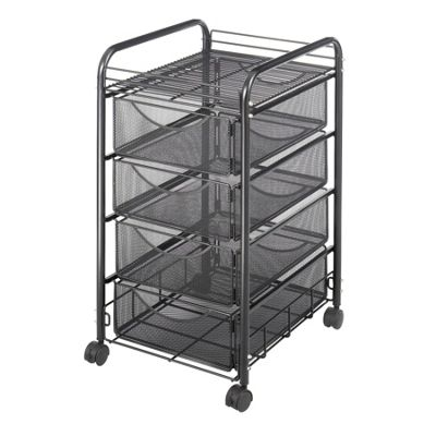 Safco Onyx Mesh Mobile Cart with Four Drawers in Black
