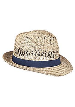 Straw Trilby Summer Beach Sun Festival Walking Hiking Hat - Beige