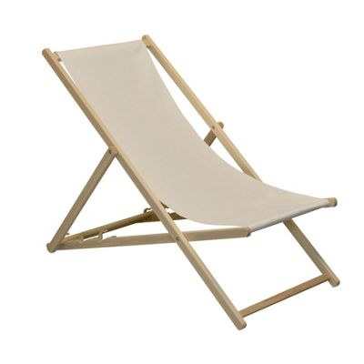 Traditional Adjustable Garden / Beach-style Deck Chair - Cream