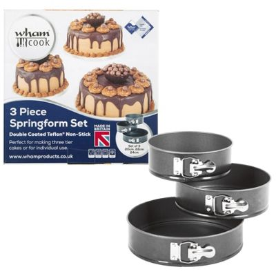Wham Set of 3 Spring Form Cake Tins- 20cm, 22cm & 24cm (0.6 Gauge)