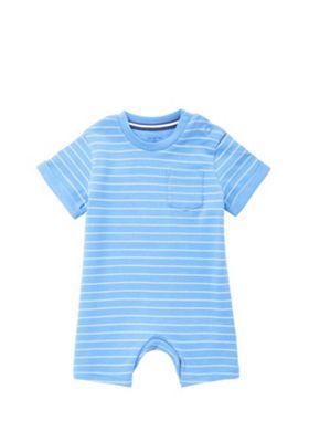 F&F Striped Short Sleeve Romper Blue 0-3 months
