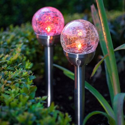 Pair of Colour Changing LED Crackle Glass Ball Solar Stake Lights