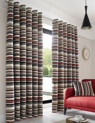 Alan Symonds Lined Richmond Red Eyelet Curtains - 66x72 Inches (168x183cm)