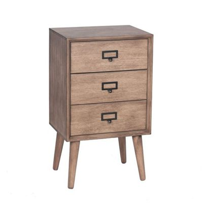 Desert Brown Pine Wood 3 Drawer Unit Decor