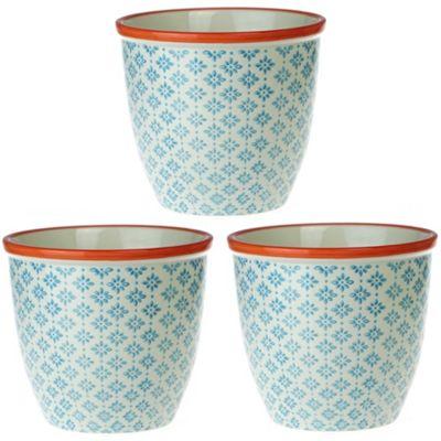 Patterned Plant Pot. Porcelain Indoor / Outdoor Flower Pot - Blue / Orange Print Design - Box of 3