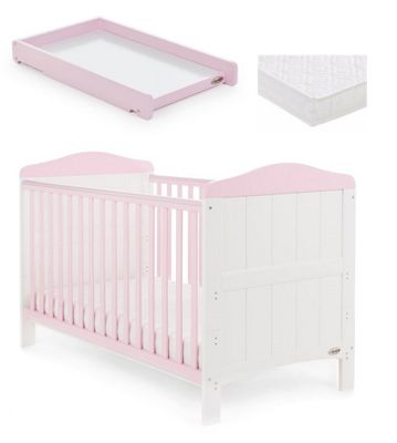 Obaby Whitby Cot Bed/Mattress/Cot Top Changer - White with Eton Mess
