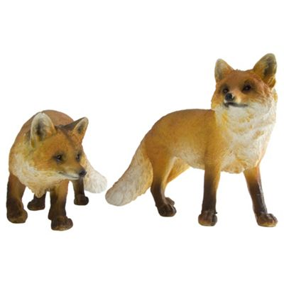 Set of 2 Realistic Polyresin Standing & Prowling Red Fox Garden Statue Ornaments