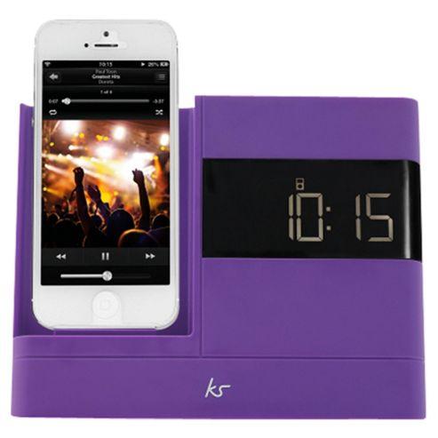 Kitsound X-Dock with FM Radio for iPhone 5/5s, Purple