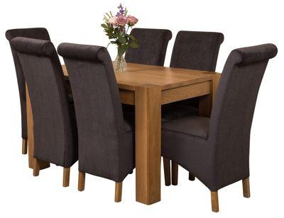 Kuba Chunky 125cm Kitchen Solid Oak Dining Set Table + 6 Black Fabric Chairs