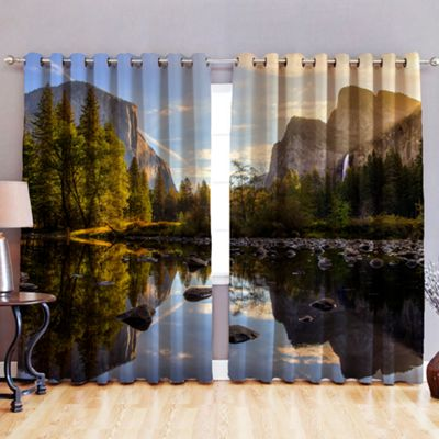 Lake 3D Print Blackout Fabric Eyelet Curtains 52
