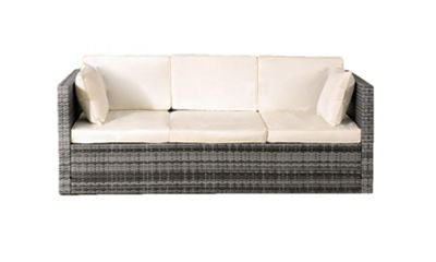 Comfy Living Rattan Sun Lounger Sofa With Storage In Grey- 3 Seater