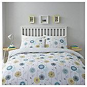 Blue/Yellow Retro Floral Duvet Set King