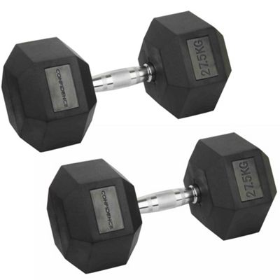 Confidence Fitness 2 X 27.5Kg Anti-Roll Hex Rubber-Coated Cast Dumbbells Weights