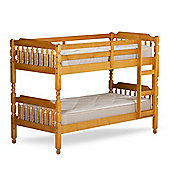Happy Beds Colonial Wooden Kids Bunk Bed with 2 Bonnell Spring Mattresses - Honey & Pine