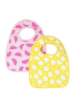 F&F 2 Pack of Lemon and Watermelon Print Feeder Bibs - Yellow & Pink