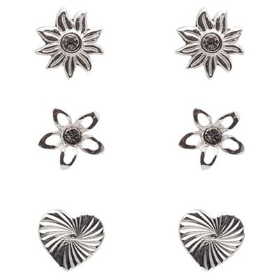 Sterling Silver Flower Stud Set