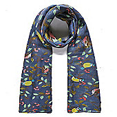 Navy Bird and Berries Print Scarf