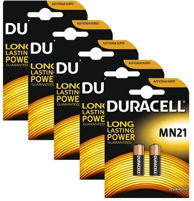 10 x Duracell Alkaline MN21 A23 12V Battery 23A LRV08 K23A E23A Batteries