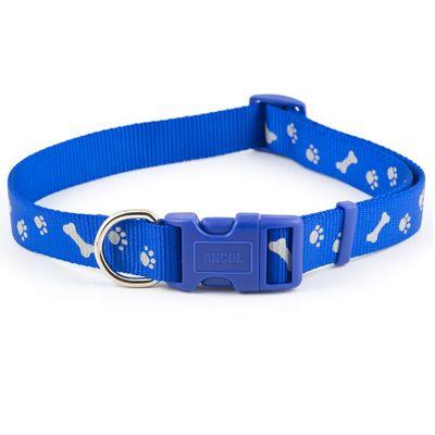 Ancol Paw 'n' Bone Adjustable Collar - Blue - 20cm-30cm