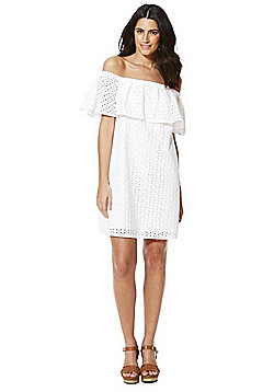 F&F Broderie Anglaise Bardot Dress - White