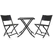Charles Bentley 3 Piece Rattan Bistro Set Outdoor Patio Furniture - Grey