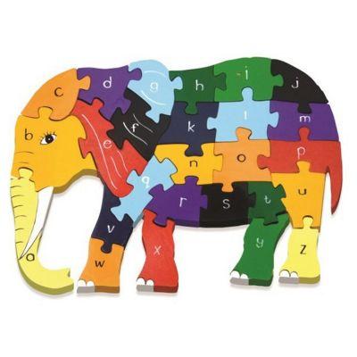 Handmade in Ireland Traditional Wooden Puzzle: Alphabet Elephant