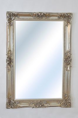 Large Silver Ornate Huge Antique Design Big Wall Mirror 6Ft X 4Ft 183Cm X 122Cm