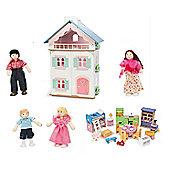 Le Toy Van La Maison De Juliette Dolls House with Starter Furniture Set and My Family of 4 Dolls