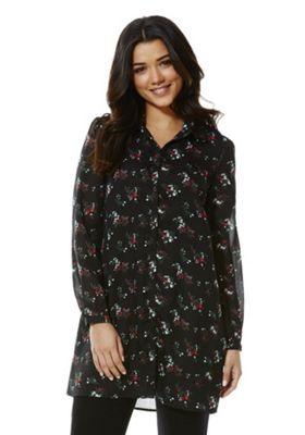 Fashion Union Floral Print Long Line Shirt 6 Black