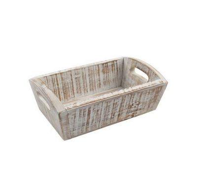 T&G Woodware Acacia Wood Nordic Deep Storage Tray in White