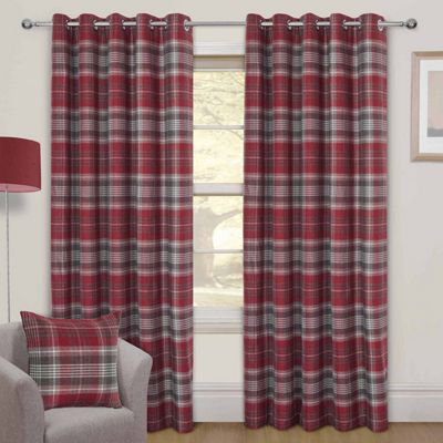 Red Tartan Interlined Thermal Eyelet Curtain Pair, 66 x 54
