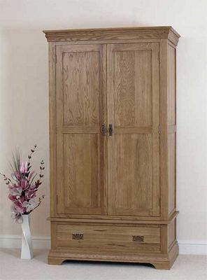Farmhouse Rustic Solid Oak Double Wardrobe